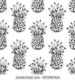Seamless pattern with pineapples. Fruits print. background texture. Wallpaper