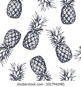 Seamless pattern with pineapples, hand drawn in graphic style. Vector illustration.