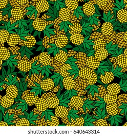 seamless pattern pineapples on black 260nw 640643314