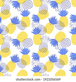 Seamless pattern with pineapples. Simple blue-yellow summer pattern with tropical fruit. Flat elements. Transparent background. For the design of clothing and food packaging