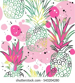 Seamless pattern with pineapples. Stylish pattern in Scandinavian style.