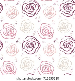 Seamless pattern with pink and beige roses on white background. Elegant design for wall paper, wedding invitations, greeting cards, scrapbook, textile print. Vector illustration.