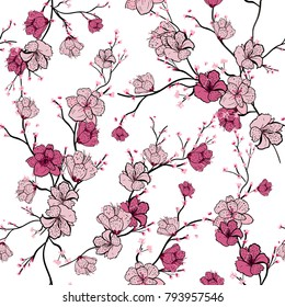 Seamless pattern with pink blooming tree branches, apple tree or sakura flowers white background, vector illustration
