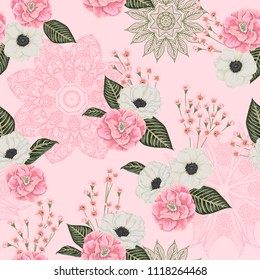 Seamless pattern with pink camellias, white anemone flowers, alstroemeria and lace ornament. Floral background with with ornate mandala. Vector illustration in watercolor style