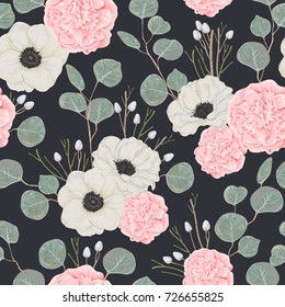 Seamless pattern with pink camellias, white anemone flowers and eucalyptus. Winter floral design for wedding invitation, wallpaper, print. Vintage hand drawn vector illustration in watercolor style