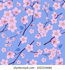 Seamless pattern from pink cherry flowers on a blue background