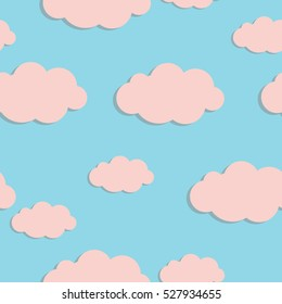 Seamless pattern with pink clouds on blue sky