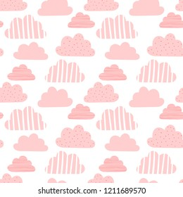 Seamless pattern of pink clouds in small distance on transparent background. Vector image for holiday, baby shower, birthday, wrappers, print, clothes, cards, banner, textiles, girls