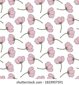 Seamless pattern with pink cosmea flowers on white background. Vector image.