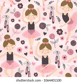 seamless pattern pink with cute ballerina - vector illustration, eps