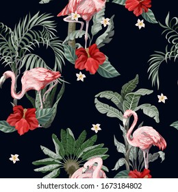 Seamless pattern with pink flamingo, flowers and jungle. Vector.