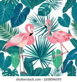 Seamless pattern of pink flamingo, monstera, tropical leaves of palm tree. Vector background.
