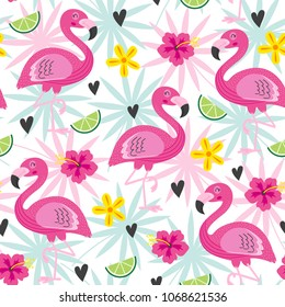 seamless pattern with pink flamingo and tropical flowers - vector illustration, eps
