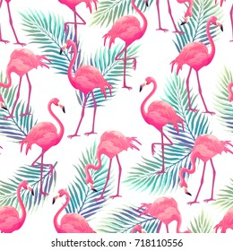 Seamless pattern with pink flamingo and Tropical leaves. Beautiful design for prints, textile and decoration.