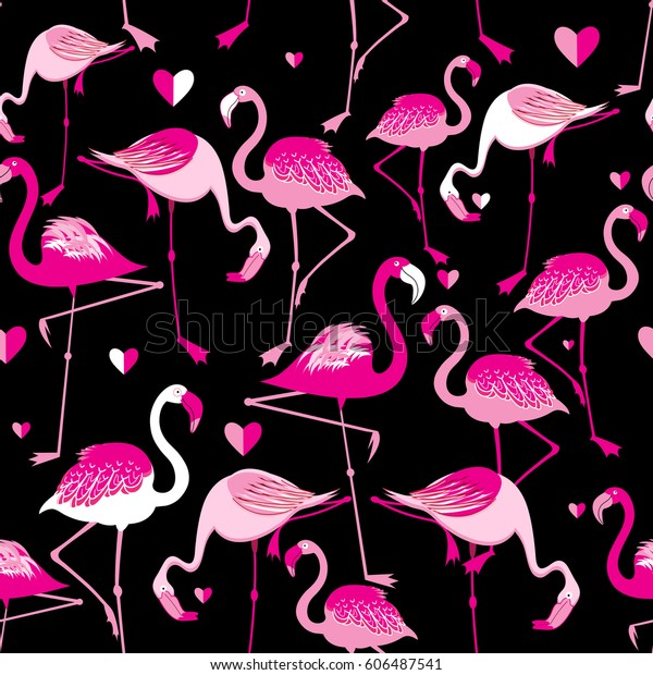 Seamless pattern from pink flamingos on a dark background