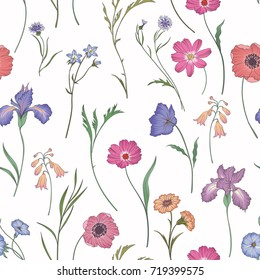 Seamless pattern with pink flowers and leaves on white background. Vector floral pattern. Floral illustration for wallpaper, card or fabric