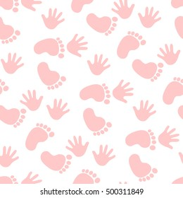 Seamless pattern with pink footprint and handprints. Background for gift wrapping. Decoration fabric. Wallpaper design. Stylish beautiful baby seamless pattern. Vector