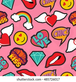 Seamless pattern with pink girl icons in pop art style, emoji, love, and rainbow stitch patches. EPS10 vector background.