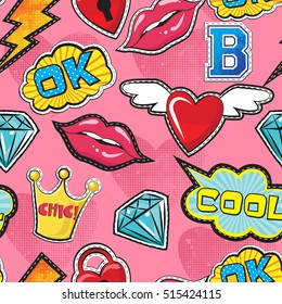 Seamless pattern with pink girl icons in pop art style, with Pop art comic speech bubbles, lips, diamond, crown, hearts, for textile. fashion Modern grunge background for girls .