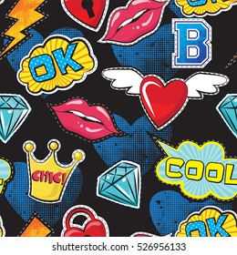 Seamless pattern with pink girl icons in pop art style, with Pop art comic speech bubbles, lips, diamond, crown, hearts, for textile. fashion Modern grunge background .