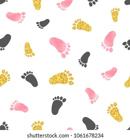 Seamless pattern with pink and golden baby footprints. Vector background.