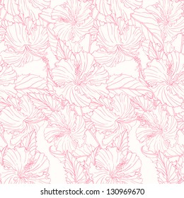 seamless pattern with pink hibiscus. vector illustration