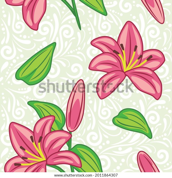 seamless-pattern-pink-lilies-vector-600w