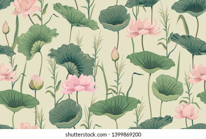 Seamless pattern with pink lotus and reeds