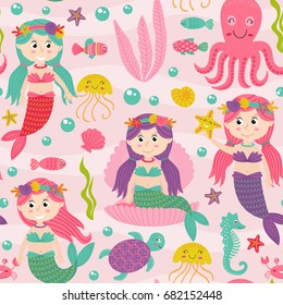 seamless pattern pink with mermaid and marine animals  -  vector illustration, eps