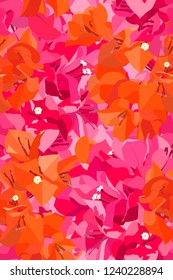 Seamless pattern of pink and orange Bougainvillea flowers