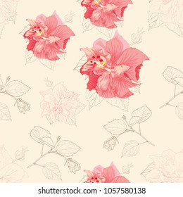 Seamless pattern pink pastel color Hibiscus flowers and leaves on isolated cream bacground.Vector illustration drawing.