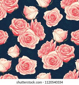 Seamless pattern pink pastel rose flowers on dark blue abstract bacground.Vector illustration drawing watercolor style.