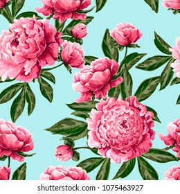 Seamless pattern with pink peonies on blue background. Delicate fashion illustration.