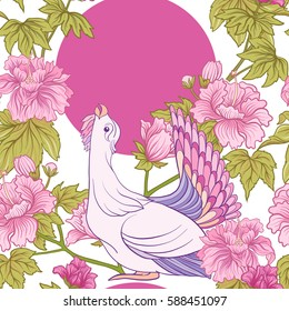 Seamless pattern with pink peony and bird in Japanese style. Vector stock illustration.