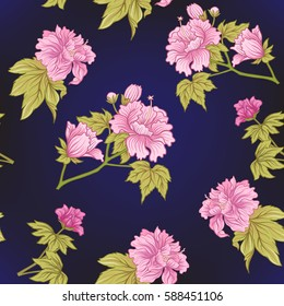 Seamless pattern with pink peony in Japanese style. Vector stock illustration.