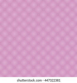 Seamless pattern of pink realistic upholstery leather texture. Luxury royal background with elements button tufted.