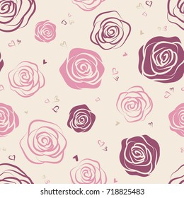 Seamless pattern with pink and red roses on beige background. Elegant design for wallpaper, wedding invitations, greeting cards, scrapbook, textile print. Vector illustration.