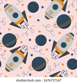 Seamless pattern with pink rockets and spaceships on a pink background. Childish space background. Cosmos wallpaper. Vector illustration, pattern with cartoon space rockets, planets, stars.