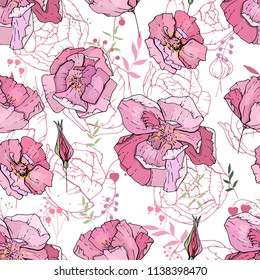 Seamless pattern with pink roses. Endless texture for floral design.