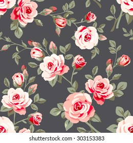 Seamless pattern with pink roses. Vintage floral background