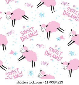 Seamless pattern with pink sheeps and Sweet Dreams lettering