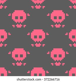 seamless pattern pink skull and crossbones on gray background 8 bits