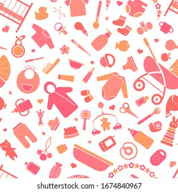 Seamless pattern in pink tones with products for newborns.