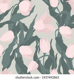 Seamless pattern of pink tulip flowers on light green background. Vector illustration. Best for wrapping, textile or print design. Symbol of springtime.
