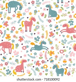 Seamless pattern with pink and turquoise cartoon horse and flowers on a white background. Vector illustration.
