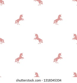 seamless pattern with pink  unicorns.   mystical, magical creation.  vector flat illustration.