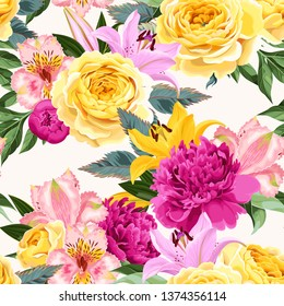 Seamless pattern with pink and yellow flowers