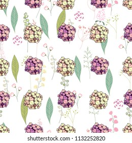 Seamless pattern with pink and yellow hydrangea. Endless texture for floral design.