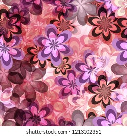 Seamless pattern pinks tone flowers background for wall paper, paper print, fabric product, vector design.