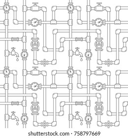 Seamless pattern with pipes, cranes and water meters. Linear illustration. White backdrop. Plumbing system illustration.